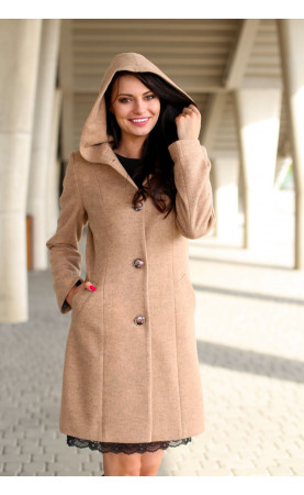 Karmelowy płaszcz wizytowy, Eleganckie płaszcze taliowane od Choice