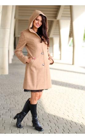 Beżowy płaszcz zimowy, Ciepłe płaszcze o długości nad kolano od Choice