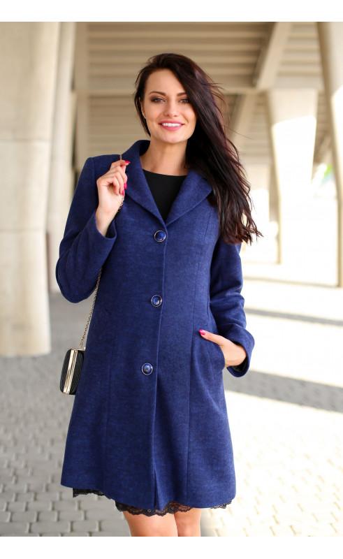 Stylowy płaszczyk w granatowym kolorze, Nowoczesne modele odzieży wierzchniej do pracy od Choice