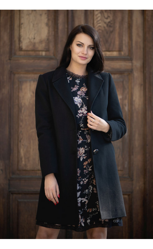 Czarny płaszczyk jednorzędowy, Zimowe płaszcze z ociepleniem od Choice