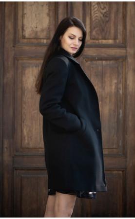 Wizytowy płaszczyk zapinany na dwa guziki, Midi płaszczyki czarne na sezon zimowy od Choice