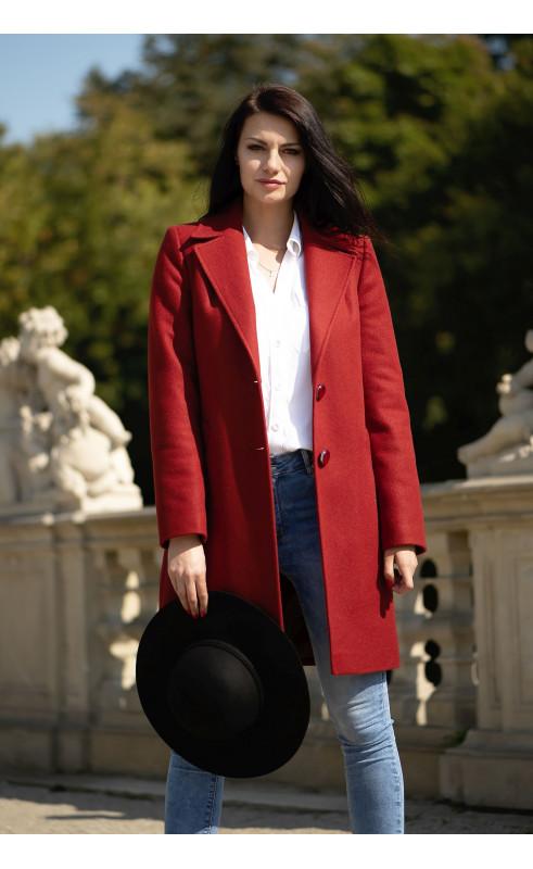 Nowoczesny płaszcz w kolorze koniakowym, Eleganckie okrycia wierzchnie jednorzędowe od Choice