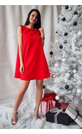 Zmysłowa sukienka tuszująca sylwetkę, Czerwone suknie na bal od Choice