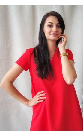 Trapezowa Sukienka Pola Czerwona Krótki Rękaw