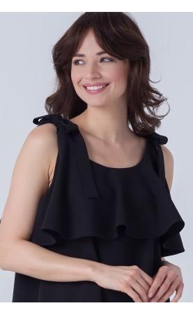 Śliczna sukienka wiązana na ramionach, Stylowe kreacje wizytowe w kolorze czarnym od Choice