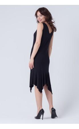 Asymetryczna sukienka w kolorze czarnym, Wieczorowa kreacja na imprezy w plenerze od Choice