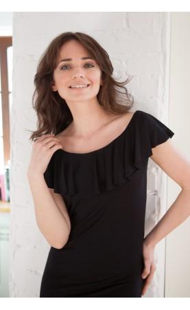 Czarna sukienka z seksownym dekoltem, Eleganckie kreacje z falbanami od Choice