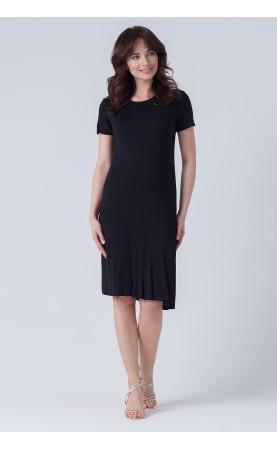 Elegancka sukienka czarna z falbaną, Midi sukienki na wieczorne kolacje od Choice