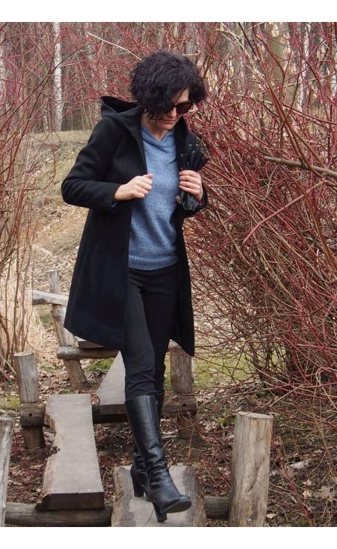 Klasyczny płaszcz jednorzędowy w kolorze czarnym, Zimowa odzież wierzchnia od Choice