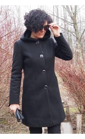 Ciepły płaszcz z kapturem i guzikami, Wysokogatunkowe płaszczyki zimowe od Choice