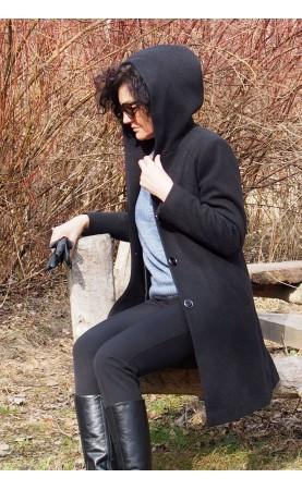 Kobiecy płaszcz w kolorze czarnym, Klasyczna odzież damska na jesień lub zimę od Choice