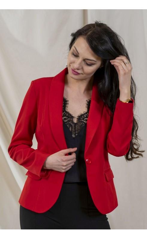 Czerwony żakiet na podszewce dla odważnych kobiet, Unikatowe marynarki wieczorowe od Choice