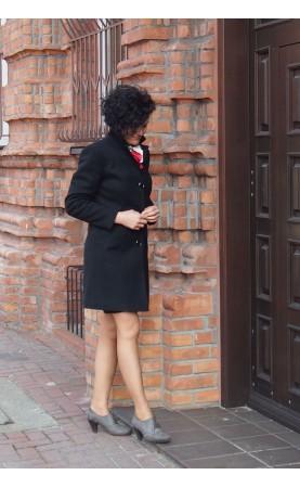 Profilowany płaszcz z długimi rękawami, Czarne okrycia wierzchnie do pracy od Choice