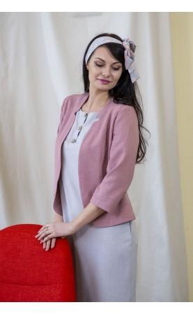 Różowy żakiet lniany na sezony przejściowe, Piękne marynarki z cięciami od Choice
