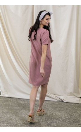 Różowa sukienka z guzikami, Oryginalne kreacja do pracy od Choice