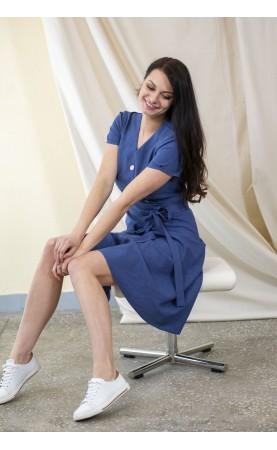 Cudowna sukienka za kolano w kolorze granatowym, Biznesowe kreacje do pracy w biurze od Choice