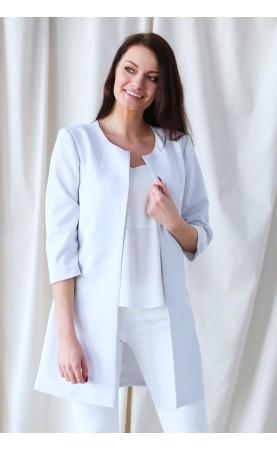 Nowoczesny żakiet w kolorze jasnoszarym, Profesjonalna odzież damska na wesele od Choice