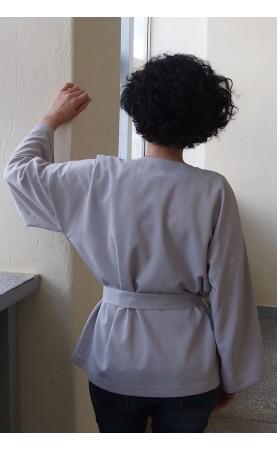 Wygodne kimono uszyte z tkaniny lnianej, Szare narzutki na wakacje lub krótki urlop od Choice