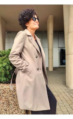 Dwurzędowy trencz w kolorze beżowym, Eleganckie płaszcze wizytowe od Choice