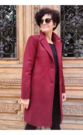 Bordowy płaszcz na eleganckie uroczystości, Wizytowe okrycia wierzchnie wełniane od Choice