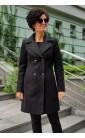 Czarny płaszcz dwurzędowy, Eleganckie okrycia wierzchnie z kołnierzem od Choice