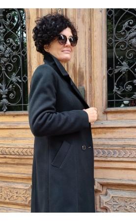 Wyszczuplający płaszcz z stylowymi guzikami, Wełniane okrycia wierzchnie w nowoczesnym stylu od Choice