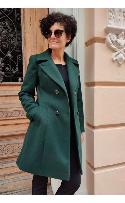 Wełniany płaszcz z zapięciem dwurzędowym, Nowoczesne okrycia wierzchnie z podszewką od Choice