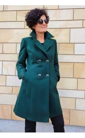 Oryginalny płaszczyk damski w modnym kolorze, Profilowane okrycia wierzchnie z kołnierzem i paskiem dekoracyjnym od Choice