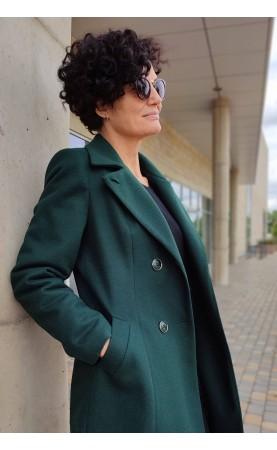 Wizytowy płaszcz w kolorze butelkowej zieleni, Unikatowe okrycia wierzchnie z wysokiej jakości materiałów od Choice