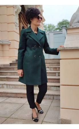 Zielony płaszcz z dwurzędowym zapięciem na zimę, Ciepłe okrycia wierzchnie szyte w Polskiej firmie od Choice