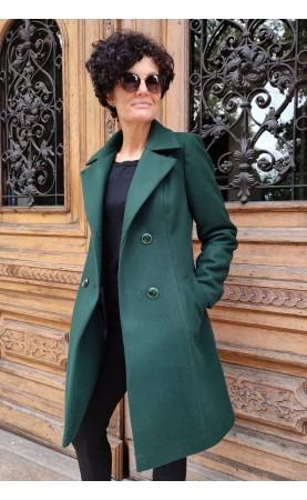 Stonowany płaszcz z kieszeniami i kołnierzem, Midi płaszcze damskie wełniane od Choice