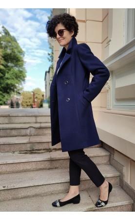 Midi płaszcz wizytowy w granatowym kolorze, Śliczne okrycia wierzchnie na zimę od Choice