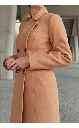 Wełniany płaszcz z kieszeniami i stylowymi guzikami, Ciepłe okrycia wierzchnie na zimę od Choice
