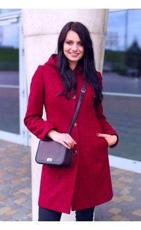 Stylowy płaszczyk z kapturem, Czerwone płaszcze zimowe od Choice