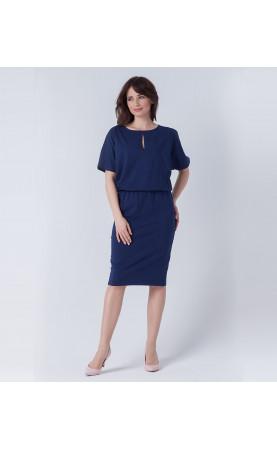 Midi sukienka z krótkim rękawem w kolorze granatowym, Wyjątkowe stylizacje za kolano od Choice