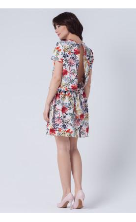 Kwiatowa sukienka o rozkloszowanym dole, Piękne kreacje z krótkim rękawem od Choice