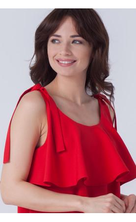 Dystyngowana sukienka w czerwonym kolorze, Modne kreacje wizytowe od Choice