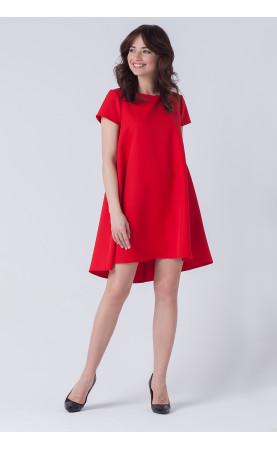 Trapezowa Asymetryczna Sukienka z krótkim rękawem Mili...