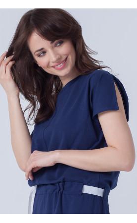 Piękna sukienka  rozciętymi rękawami, Casualowe kreacje granatowe dla managerki od Choice