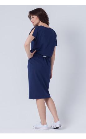 Midi suknia z tasiemką, Luźne kreacje z krótkim rękawkiem od Choice