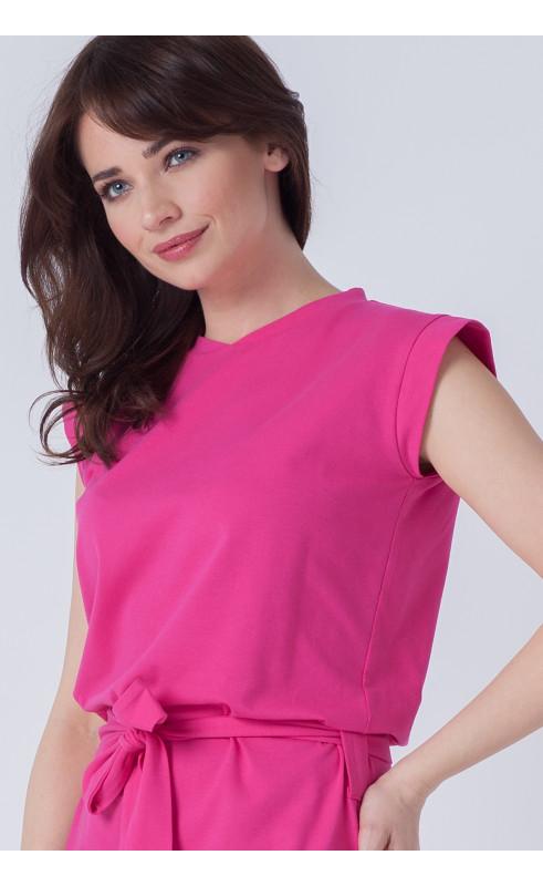 Różowa sukienka midi, Modne kreacje wizytowe od Choice