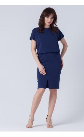 Zmysłowa sukienka z odkrytymi plecami, Granatowe kreacje wizytowe od Choice