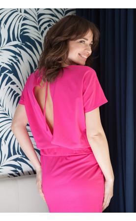 Elegancka sukienka z odkrytymi plecami, Różowe kreacje na imprezy w wakacje od Choice