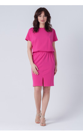 Śliczna sukienka z rozporkiem z przodu i gumą w pasie, Stylowe kreacje wizytowe od Choice