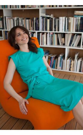 Wyszczuplająca sukienka w kolorze zielonym, Klasyczne kreacje bawełniane od Choice