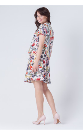 Zwiewna sukienka z krótkim rękawem, Kolorowe sukienki na lato od Choice
