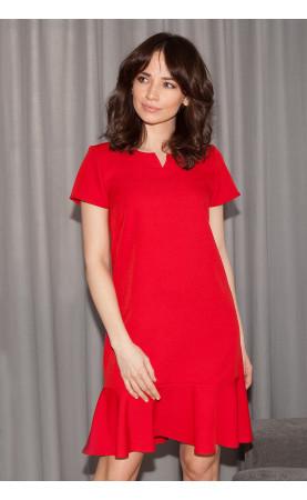 Prosta Sukienka z Falbaną Pini Czerwona