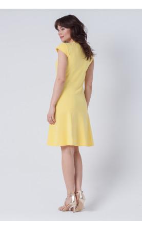 Trapezowa sukienka w kolorze żółtym, Bawełniane kreacje na zakupy od Choice