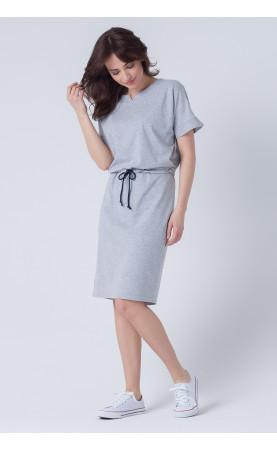 Bawełniana sukienka w kolorze szarym, Stylowe kreacje na co dzień od Choice