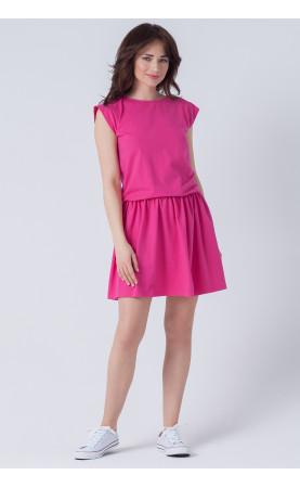 Sportowa stylizacja na co dzień, Nowoczesne sukienki w różowym kolorze od Choice
